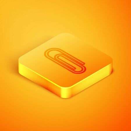 Isometric line Paper clip icon isolated on orange background. Orange square button. Vector Illustration