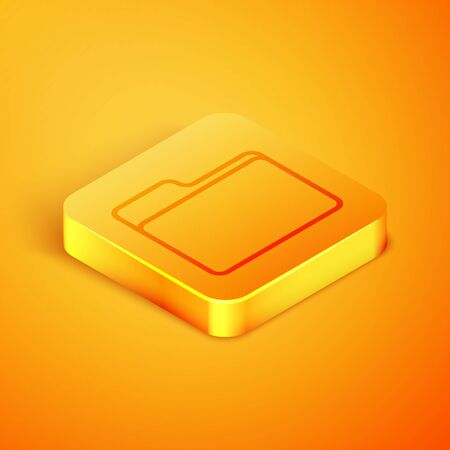 Isometric line Document folder icon isolated on orange background. Accounting binder symbol. Bookkeeping management. Orange square button. Vector Illustration