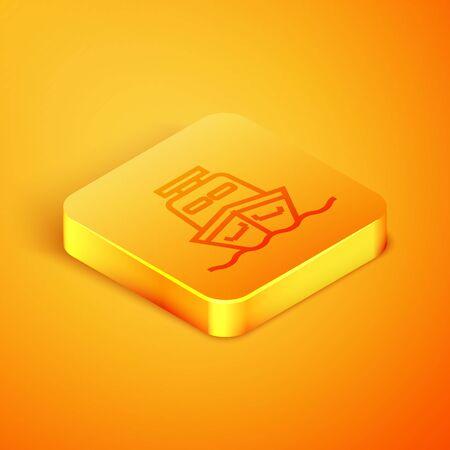Isometric line Ship icon isolated on orange background. Orange square button. Vector Illustration