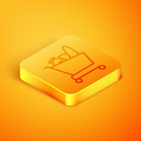 Isometric line Shopping cart and food icon isolated on orange background. Food store, supermarket. Orange square button. Vector Illustration