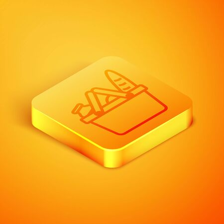 Isometric line Shopping basket and food icon isolated on orange background. Food store, supermarket. Orange square button. Vector Illustration Illustration