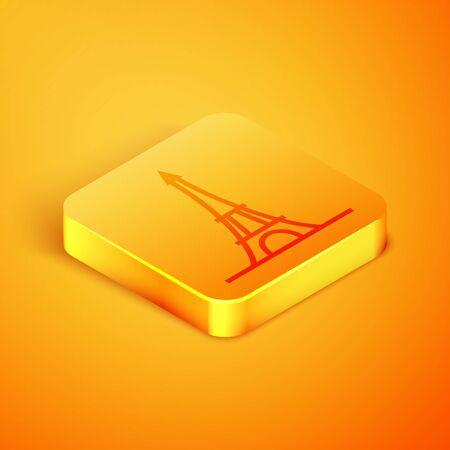 Isometric line Eiffel tower icon isolated on orange background. France Paris landmark symbol. Orange square button. Vector Illustration Ilustracja