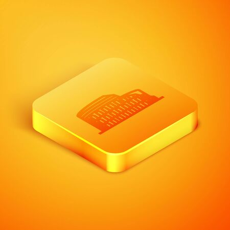 Isometric line Coliseum in Rome, Italy icon isolated on orange background. Colosseum sign. Symbol of Ancient Rome, gladiator fights. Orange square button. Vector Illustration