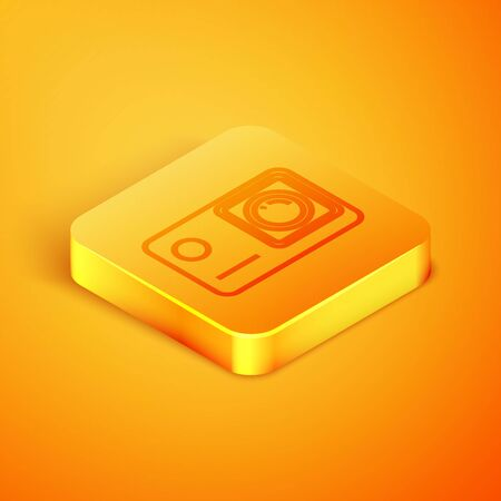 Isometric line Action extreme camera icon isolated on orange background. Video camera equipment for filming extreme sports. Orange square button. Vector Illustration Иллюстрация