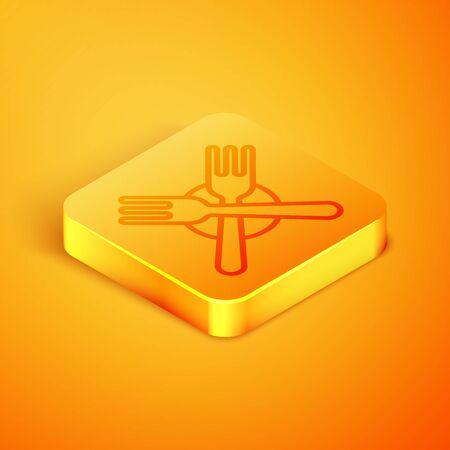 Isometric line Crossed fork icon isolated on orange background. Cutlery symbol. Orange square button. Vector Illustration