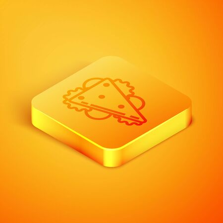 Isometric line Sandwich icon isolated on orange background. Hamburger icon. Burger food symbol. Cheeseburger sign. Street fast food menu. Orange square button. Vector Illustration  イラスト・ベクター素材