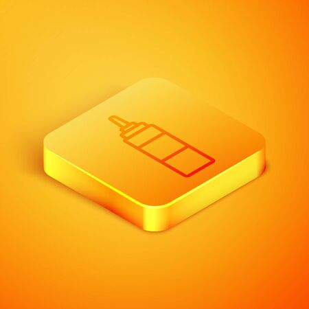 Isometric line Sauce bottle icon isolated on orange background. Ketchup, mustard and mayonnaise bottles with sauce for fast food. Orange square button. Vector Illustration