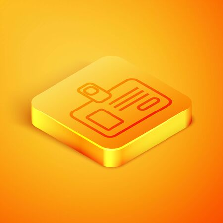 Isometric line Identification badge icon isolated on orange background. It can be used for presentation, identity of the company, advertising. Orange square button. Vector Illustration
