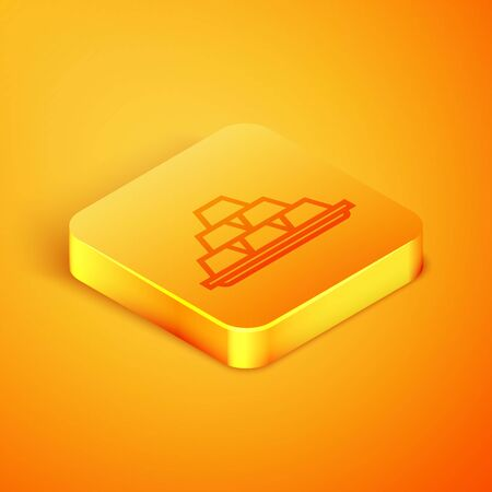 Isometric line Gold bars icon isolated on orange background. Banking business concept. Orange square button. Vector Illustration