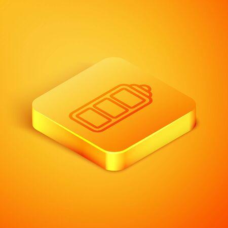 Isometric line Battery charge level indicator icon isolated on orange background. Orange square button. Vector Illustration