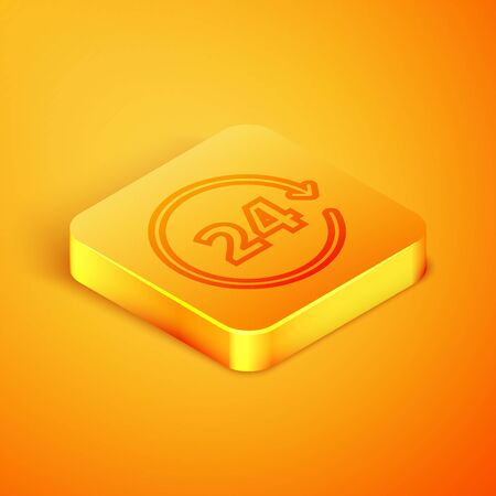 Isometric line Clock 24 hours icon isolated on orange background. All day cyclic icon. 24 hours service symbol. Orange square button. Vector Illustration Ilustração
