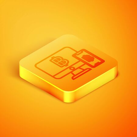 Isometric line Computer monitor with pound sterling symbol icon isolated on orange background. Online shopping concept. Earnings in the Internet. Orange square button. Vector Illustration
