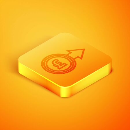 Isometric line Coin money with euro symbol icon isolated on orange background. Banking currency sign. Cash symbol. Orange square button. Vector Illustration