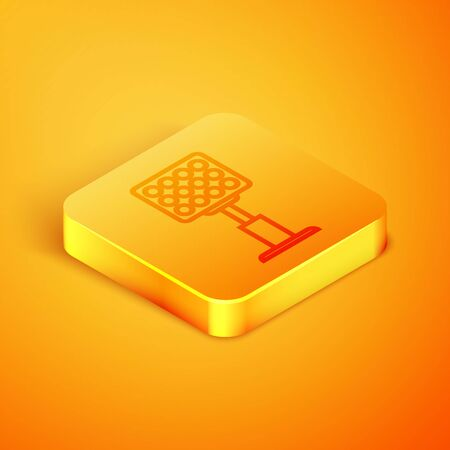Isometric line Bright stadium lights icon isolated on orange background. Spotlight on a football field. Floodlight, light projector. Orange square button. Vector Illustration