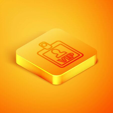 Isometric line VIP badge icon isolated on orange background. Orange square button. Vector Illustration 向量圖像