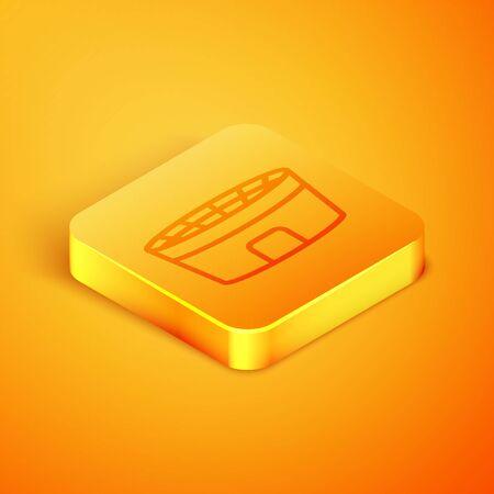 Isometric line Football stadium icon isolated on orange background. Football arena. Orange square button. Vector Illustration