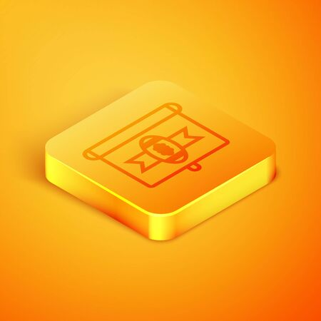 Isometric line American football on tv program icon isolated on orange background. Orange square button. Vector Illustration