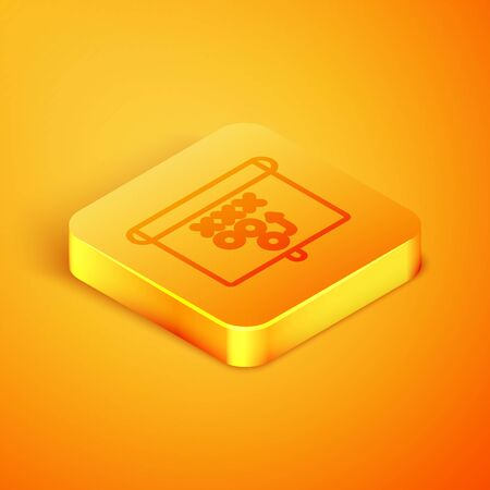 Isometric line Planning strategy concept icon isolated on orange background. Standard-Bild - 129794145