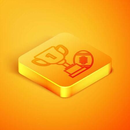 Isometric line Award cup and American football ball icon isolated on orange background. Winner trophy symbol. Championship or competition trophy. Orange square button. Vector Illustration