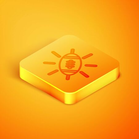 Isometric line American Football ball icon isolated on orange background. Rugby ball icon. Team sport game symbol. Orange square button. Vector Illustration