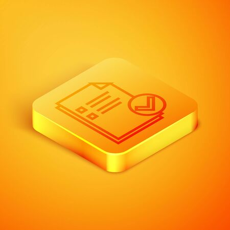 Isometric line Document and check mark icon isolated on orange background. Checklist icon. Business concept. Orange square button. Vector Illustration