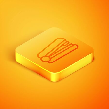 Isometric line Office stapler icon isolated on orange background. Stapler, staple, paper, cardboard, office equipment. Orange square button. Vector Illustration
