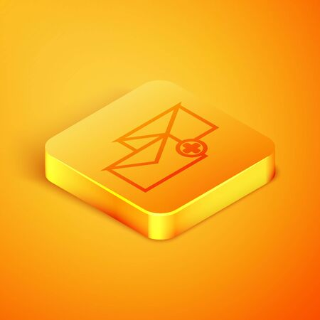 Isometric line Envelope icon isolated on orange background. Received message concept. New, email incoming message, sms. Mail delivery service. Orange square button. Vector Illustration Çizim