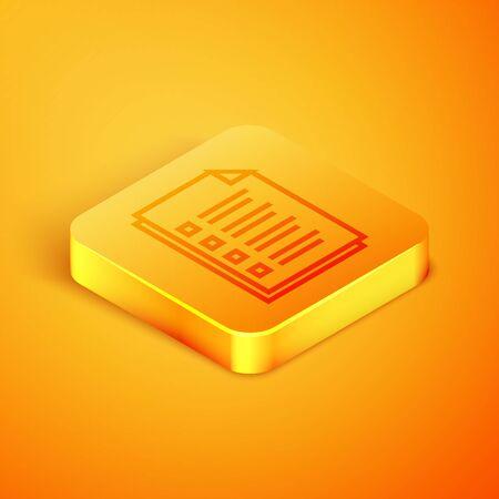 Isometric line File document icon isolated on orange background. Checklist icon. Business concept. Orange square button. Vector Illustration