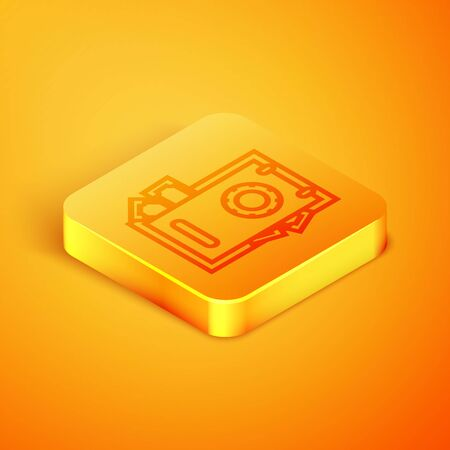 Isometric line Safe and money icon isolated on orange background. The door safe a bank vault with a combination lock. Reliable Data Protection. Orange square button. Vector Illustration