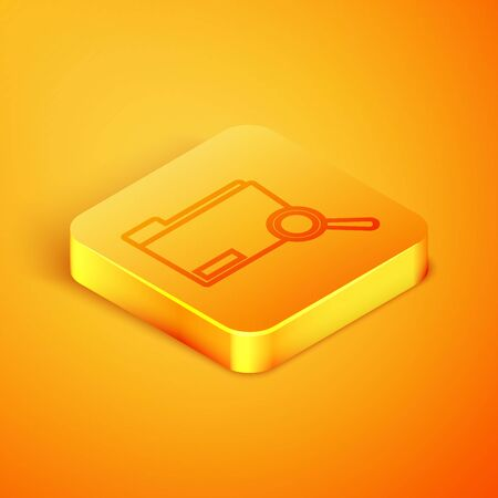 Isometric line Search concept with folder icon isolated on orange background. Magnifying glass and document. Data and information sign. Orange square button. Vector Illustration Ilustracja