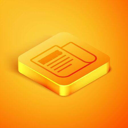 Isometric line News icon isolated on orange background. Newspaper sign. Mass media symbol. Orange square button. Vector Illustration 向量圖像