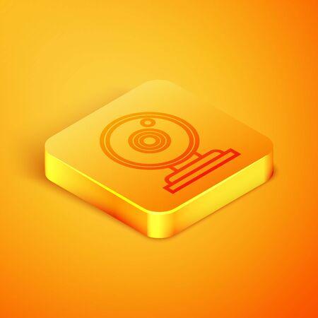 Isometric line Web camera icon isolated on orange background. Chat camera. Webcam icon. Orange square button. Vector Illustration