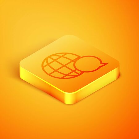 Isometric line World map made from speech bubble icon isolated on orange background. Global communication scheme on Earth. Orange square button. Vector Illustration Çizim