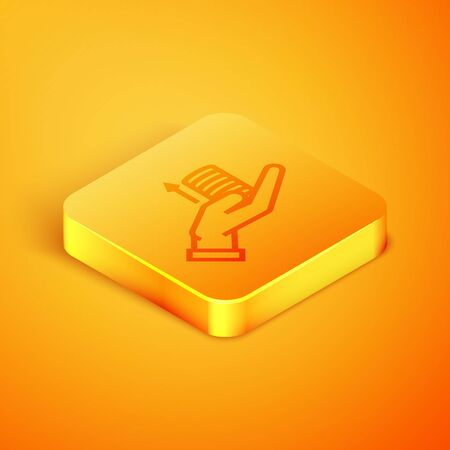 Isometric line Money on hand icon isolated on orange background. Palm holds cash with arrow up. Cash salary increase. Rising prices. Orange square button. Vector Illustration Illusztráció