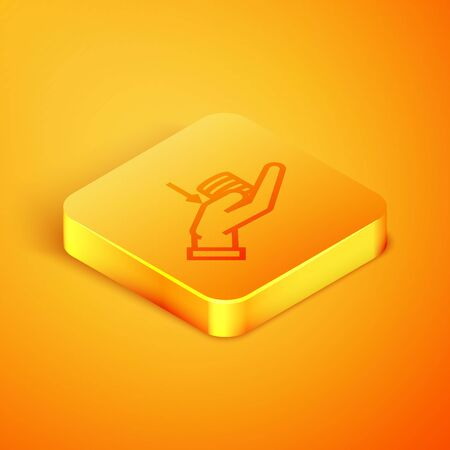 Isometric line Money on hand icon isolated on orange background. Palm holds cash with down. Cash salary decrease. Orange square button. Vector Illustration Illusztráció