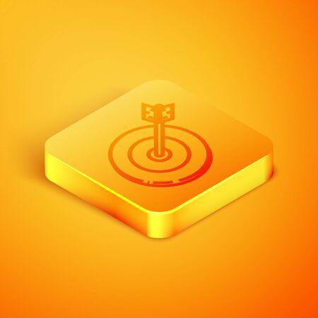 Isometric line Target icon isolated on orange background. Investment target icon. Successful business concept. Cash or Money sign. Orange square button. Vector Illustration Ilustração