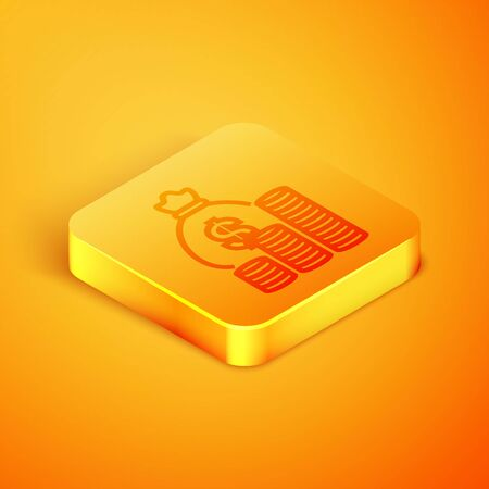 Isometric line Money bag and coin icon isolated on orange background. Dollar or USD symbol. Cash Banking currency sign. Orange square button. Vector Illustration