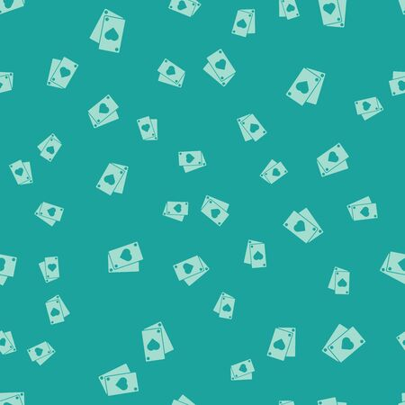 Green Playing card icon isolated seamless pattern on green background. Vector Illustration