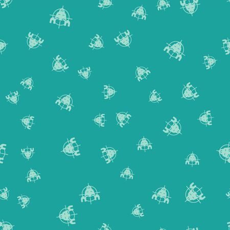 Green Hunt on moose with crosshairs icon isolated seamless pattern on green background. Hunting club with moose and target. Rifle lens aiming a moose. Vector Illustration