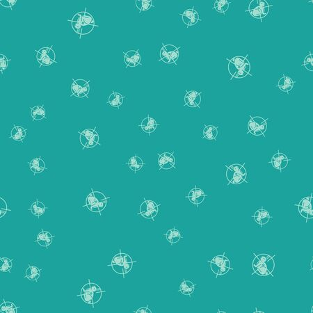 Green Hunt on rabbit with crosshairs icon isolated seamless pattern on green background. Hunting club with rabbit and target. Rifle lens aiming a hare. Vector Illustration