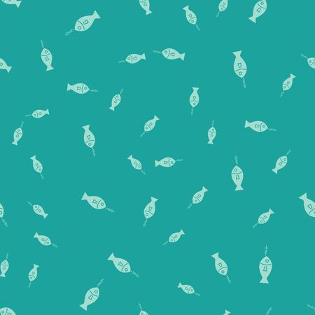 Green Fish on hook icon isolated seamless pattern on green background. Vector Illustration 写真素材 - 129804326