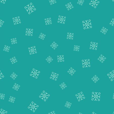 Green Snowflake icon isolated seamless pattern on green background. Vector Illustration Illustration