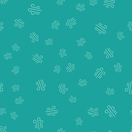 Green Wind icon isolated seamless pattern on green background. Windy weather. Vector Illustration Иллюстрация