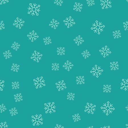 Green Snowflake icon isolated seamless pattern on green background. Vector Illustration Çizim