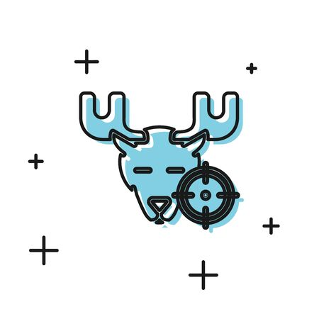 Black Hunt on moose with crosshairs icon isolated on white background. Hunting club with moose and target. Rifle lens aiming a moose. Vector Illustration