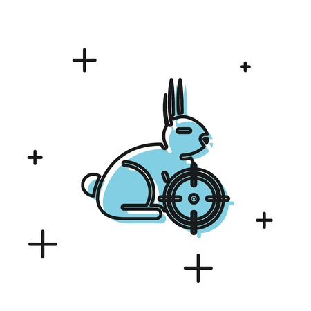 Black Hunt on rabbit with crosshairs icon isolated on white background. Hunting club with rabbit and target. Rifle lens aiming a hare. Vector Illustration