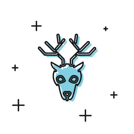 Black Deer head with antlers icon isolated on white background. Vector Illustration