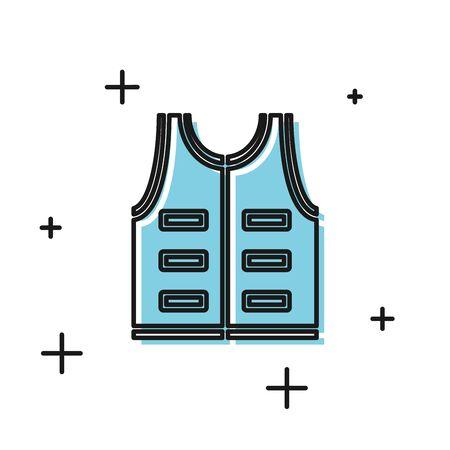 Black Hunting jacket icon isolated on white background. Hunting vest. Vector Illustration Ilustrace