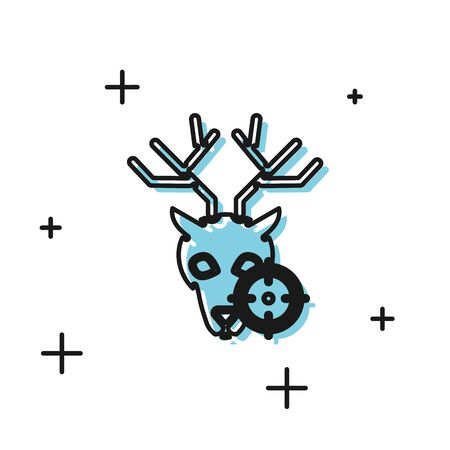 Black Hunt on deer with crosshairs icon isolated on white background. Hunting club with deer and target. Rifle lens aiming a deer. Vector Illustration Иллюстрация