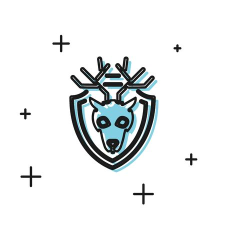 Black Deer head with antlers on shield icon isolated on white background. Hunting trophy on wall. Vector Illustration Иллюстрация
